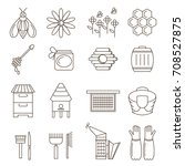 apiary linear icons. emblem... | Shutterstock .eps vector #708527875