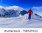 mountaineer backcountry ski... | Shutterstock . vector #708529312