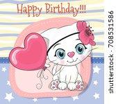 greeting card cute cartoon...   Shutterstock .eps vector #708531586