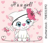 Baby Shower Greeting Card with cute white kitten girl