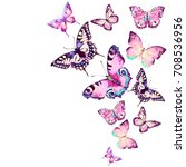 Stock photo beautiful pink butterfly watercolor isolated on a white 708536956