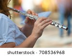transverse flute played by a... | Shutterstock . vector #708536968