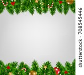 Xmas Fir Tree Borders Card Wit...
