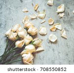 roses on a wooden background... | Shutterstock . vector #708550852