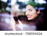 a beautiful young indian woman... | Shutterstock . vector #708554326