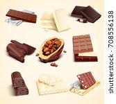 set of chocolate bars of white... | Shutterstock .eps vector #708556138