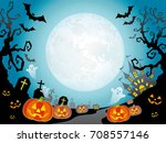 a seamless happy halloween... | Shutterstock .eps vector #708557146