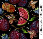 embroidery fruit seamless... | Shutterstock .eps vector #708557302