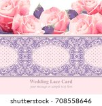 pink roses on vintage delicate... | Shutterstock .eps vector #708558646