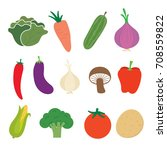 collection vegetable sets | Shutterstock .eps vector #708559822