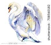 Watercolor Swan Bird...
