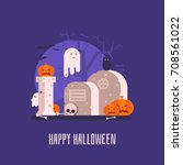 happy halloween card with... | Shutterstock .eps vector #708561022