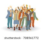 group happy people isolate on... | Shutterstock .eps vector #708561772
