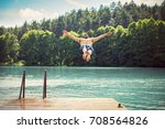 young fit man making a jump... | Shutterstock . vector #708564826