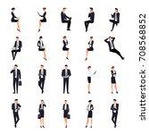 set of businessmen in a flat... | Shutterstock .eps vector #708568852