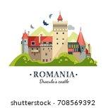 romania dracula's castle bran | Shutterstock .eps vector #708569392