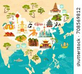 china illustrated map  hand... | Shutterstock .eps vector #708569812