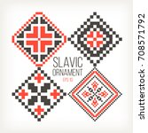 slavic ornaments four different ... | Shutterstock .eps vector #708571792