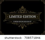 vintage frame for luxury logo... | Shutterstock .eps vector #708571846