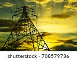 silhouette of high voltage... | Shutterstock . vector #708579736