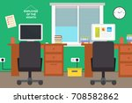 modern office interior.flat... | Shutterstock . vector #708582862
