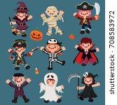 vintage halloween poster design ... | Shutterstock .eps vector #708583972