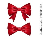 gift bows ribbon silk. red bow... | Shutterstock .eps vector #708585142