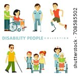 disability people set. young... | Shutterstock .eps vector #708585502