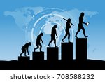 human evolution into the... | Shutterstock .eps vector #708588232
