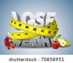 lose weight text with measure... | Shutterstock .eps vector #70858951