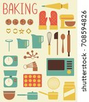 illustration of baking tools... | Shutterstock .eps vector #708594826