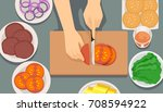 illustration of hands chopping... | Shutterstock .eps vector #708594922