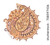 paisley ornamental motifs of... | Shutterstock .eps vector #708597436