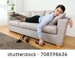 attractive beauty girl worker... | Shutterstock . vector #708598636