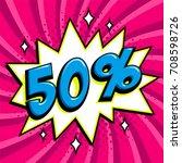 purple sale web banner. pop art ... | Shutterstock .eps vector #708598726