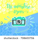 travel. inspiration quote and... | Shutterstock .eps vector #708603706