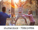 friends relaxing after jogging... | Shutterstock . vector #708614986