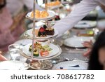 snack afternoon tea stand | Shutterstock . vector #708617782