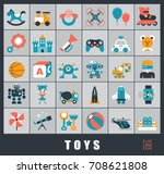 set of premium quality toy... | Shutterstock .eps vector #708621808