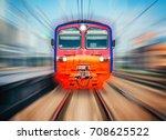 high speed train moves toward... | Shutterstock . vector #708625522