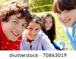 portrait of happy teens looking ... | Shutterstock . vector #70863019
