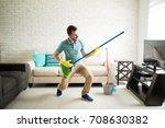 attractive man having fun... | Shutterstock . vector #708630382