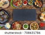 dinner table. various snacks of ... | Shutterstock . vector #708631786