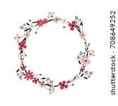 vector flower wreath. floral... | Shutterstock .eps vector #708649252