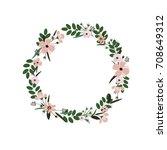vector flower wreath. floral... | Shutterstock .eps vector #708649312