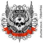 vector design for t shirt skull ... | Shutterstock .eps vector #70864966