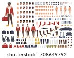 caucasian man creation set or... | Shutterstock .eps vector #708649792