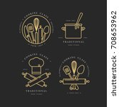 golden linear design elements ... | Shutterstock .eps vector #708653962
