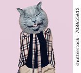 hooligan cat in the checkered... | Shutterstock . vector #708655612