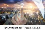 hong kong wifi network... | Shutterstock . vector #708672166